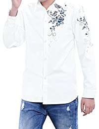 uxcell® Boys Long Sleeves Single Breasted Floral Prints Shirt