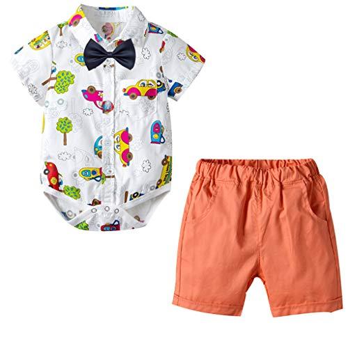 - Iuhan Little Boys Clothes Set for Baby Boy Gentleman Dinosaur Romper Tops Shorts Bow Toddler Kids Summer Short Sleeve Outfits Set 3Pcs