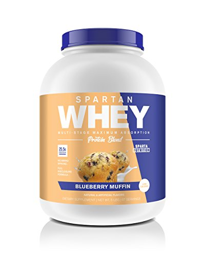 Sparta Nutrition Spartan Whey: Best Rated Protein Powder Blend, Best Tasting Whey Protein Isolate and Micellar Casein Blend with AstraGin for Amino Acid Absorption, Blueberry Muffin, 5 lbs, 67 Scoops