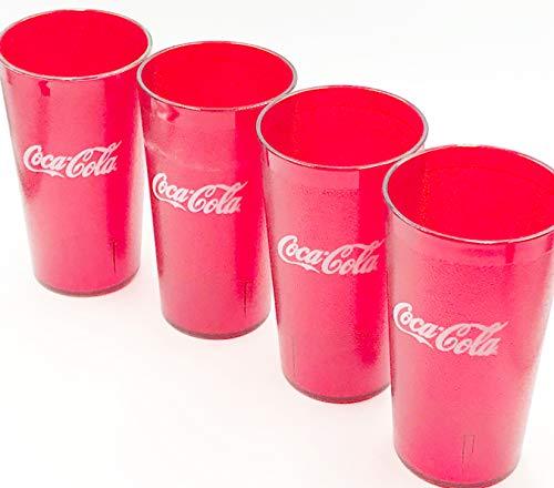 Coca Cola Logo Ruby Red Plastic Tumblers Set of 4-16oz (Coke)