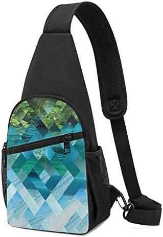 景色 幾何学のパターン 斜め掛け ボディ肩掛け ショルダーバッグ ワンショルダーバッグ メンズ 多機能レジャーバックパック 軽量 大容量