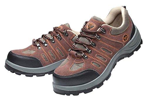 Leather Footwear Shoes Steel Footwear Industrial Toe du Men's Proof Safety Jiu Brown Style Construction and Trainer qwaZ4f