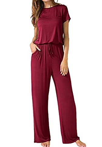 LAINAB Womens Casual Short Sleeves O Neck Jumpsuits Rompers with Pockets Wine XL