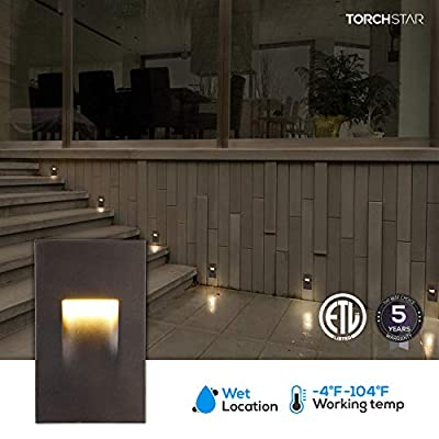 LEONLITE 120V Dimmable LED Step Light, 3.5W 3000K Warm White, 110lm CRI 90, ETL Listed Indoor Outdoor Stair Light, Aluminum Waterproof Staircase Light, 5-Year Warranty, Oil Rubbed Bronze, Pack of 3: Home Improvement
