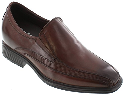 Taller inches 3 Brown Height Shoes CALTO Dark Slip Shoes on G60125 Dress Increasing Elevator tEqwngUx