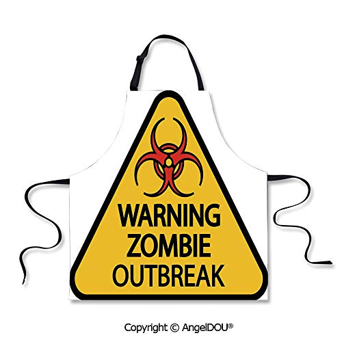SCOXIXI Durable Polyester Waterproof Apron Warning Zombie Outbreak Sign Cemetery Infection Halloween Graphic Decorative Waterproof Aprons for Restaurant BBQ Grill. -