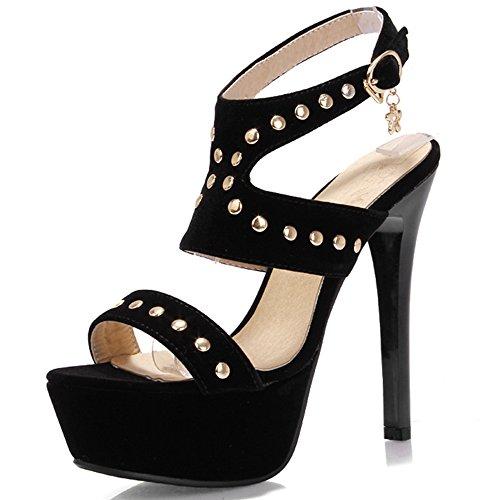 Fashion Heel - Zapatos con correa de tobillo mujer negro