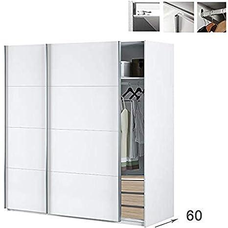 HABITMOBEL Armario Habitación Dormitorio 200 Puertas correderas, con Fondo Especial DE 60cm (Cajonera Interior incluida): Amazon.es: Hogar