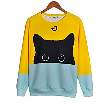 coriresha color block cute cat pattarn long sleeve round neck