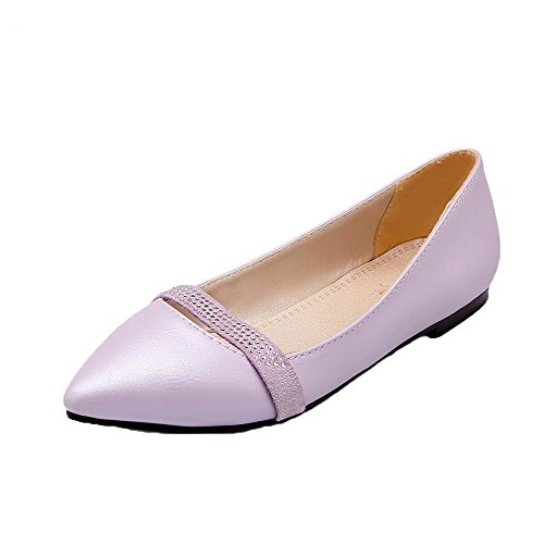 VogueZone009 Women's PU Closed-Toe Low-Heels Pull-On Solid Pumps-Shoes Purple nyQBO
