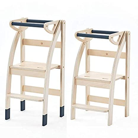 Der Lern Turm mit nur einer Hand Auf zwei H/öhen einstellbar 100/% Italien handwerklich. Zusammenklappbar und verwandelt in einen Hocker oder Stuhl Bronzesucher Beige Bronze ADesign Award 2019