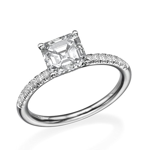 D-F VS 8.00MM Forever One Moissanite Ring With Diamonds (2 ct, 2.35 ctw dew) Asscher Cut 14K Gold