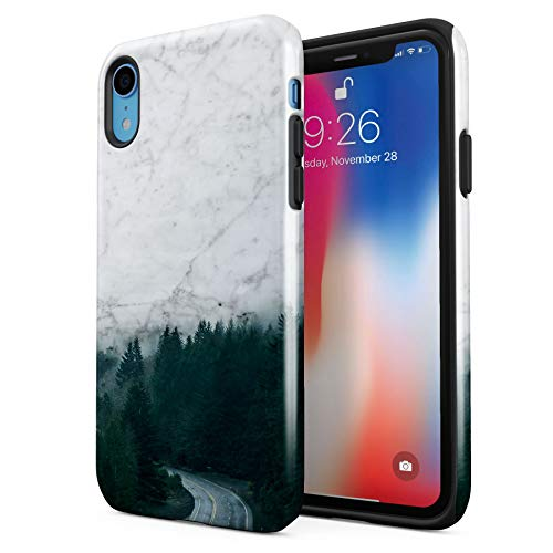 Marble Stone Forest Woods Nature Tumblr Apple iPhone XR Silicone Inner/Outer Hard PC Shell Hybrid Armor Protective Case Cover