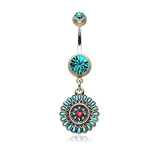 Inspiration Dezigns 14G Brass Finish Vintage Boho Sahasrara Chakra Belly Button Ring (Full Turquoise Belly Rings)