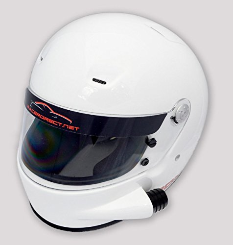 RACERDIRECT.NET SIDE VENTED RACING HELMET WHITE SA2015 FULL FACE SNELL SA 2015 RATING ADULT (Road Vented Full Face Helmets)