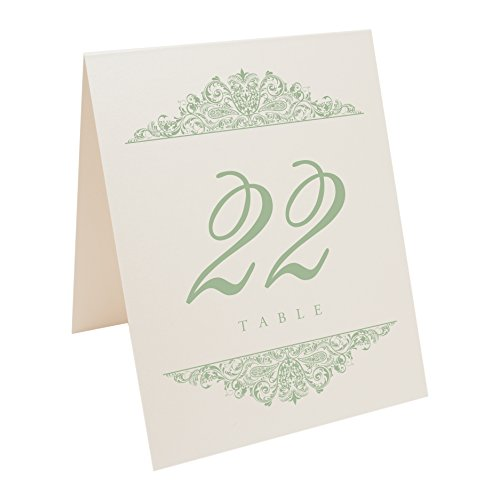 (Documents and Designs Paisley Table Numbers (Select Color/Quantity), Champagne, Sage, 1-25)
