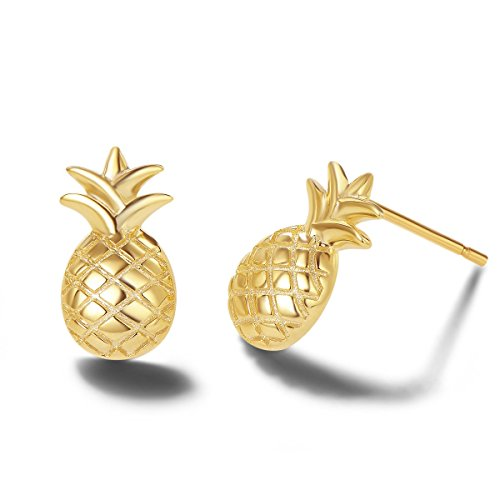 - Carleen 14k Yellow Gold Plated 925 Sterling Silver Dainty Small Cute Statement Pineapple Earrings Fine Jewelry Stud Earrings for Women Girls, 14X8mm