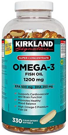 Kirkland Signature Super Concentrate Omega-3 Fish Oil 1200mg, EPA 500/DHA 250mg, 330 Clear enteric softgels