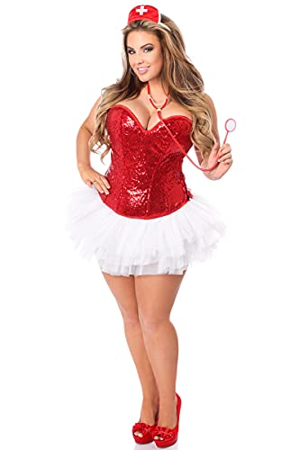 Daisy Corsets Women's Top Drawer 4 Pc Sequin Nurse Corset Costume, Red, Large -