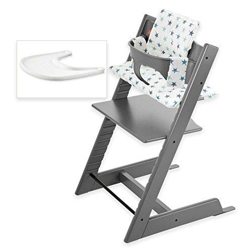 Stokke Tripp Trapp High Chair Complete Bundle in Storm Grey European Beechwood Seat