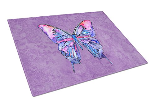 Caroline's Treasures Butterfly on Purple Glass Cutting Board, Large, Multicolor from Caroline's Treasures