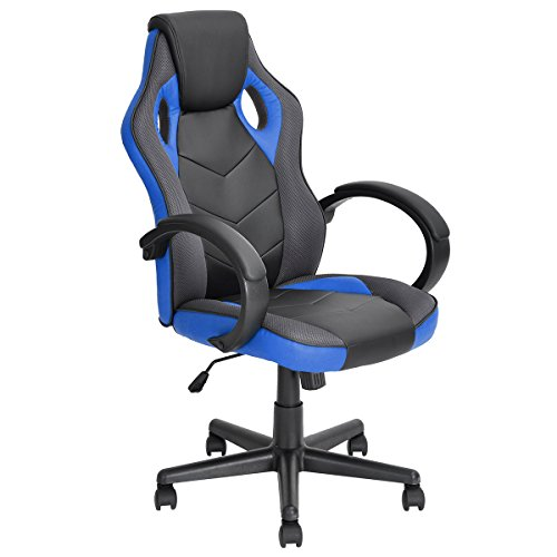 41jKdC7WeRL - Racing-Chair-FurnitureR-Desk-Chair-Executive-Swivel-Leather-Office-Chair-Racing-Style-Task-Chair-High-back-Gaming-Chair-Blue