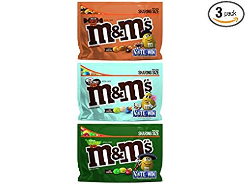 M&M's Flavor Vote Thai Coconut, English Toffee, Mexican Jalapeno Peanut Sharing Chocolate Candy, 9.6 Ounce Bag (Pack of 3)