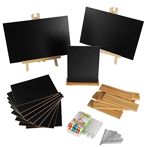 2+10 Pack Mini Chalkboards Signs with Style Wood Base Stands, Small Chalkboard Signs for Wedding, Birthday Parties, Table Numbers, Food Signs and Special Event Decoration