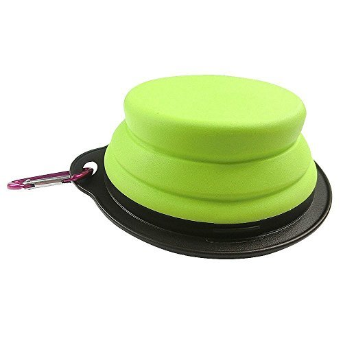 Pet Silicone Foldable Bowl - Retractable Travel Protable Water Bottle/Dish with a Metal Carabiner, Also Can Used as Flying Disc Toy for Dogs & Cats, Green