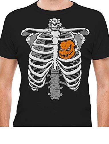 Halloween Skeleton Rib Cage Xray Pumpkin Jack O' Lantern Easy Costume T-Shirt Black