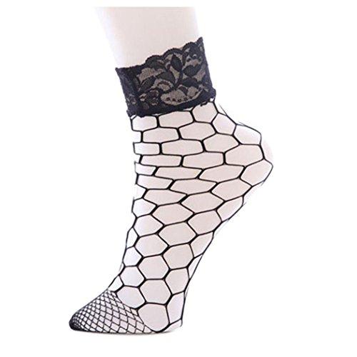 Women Fishnet Socks Inkach Girls Fashion Ruffle Ankle High Lace Fish Net Short Socks