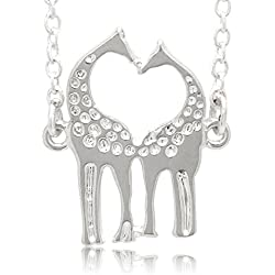 """Two Giraffes In Love"" Heart Couple Soulmate Cute Pendant Necklace Adjustable Link Chain 19"" - 21"""