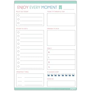 "ENJOY EVERY MOMENT - Daily To Do List Notepad with a Magnet - 80 Tear off A5 Size Sticky Notes (5.83"" x 8.27"") - Day Planning Checklist Memo Pad"