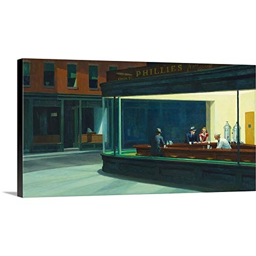 Gallery-Wrapped Canvas Entitled Nighthawks, 1942 by Edward Hopper (Nighthawks 1942 Edward Hopper)
