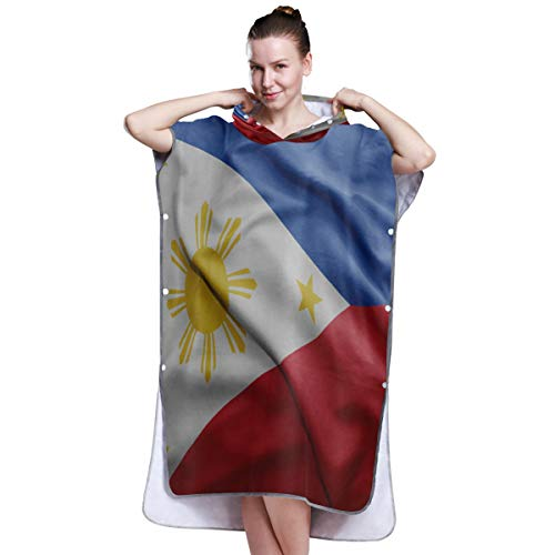 Philippines Flag Quick Dry Bathrobe Towel Swim Towels Poncho Beach Changing ()
