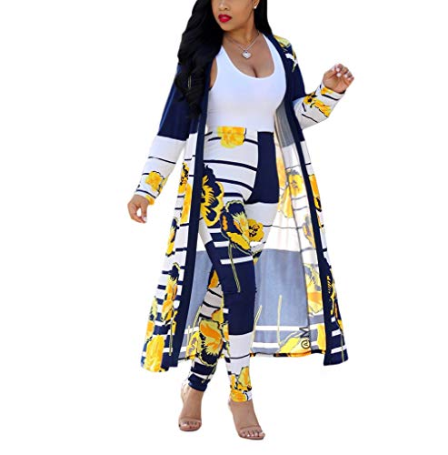 Womens 2 Piece Floral Print Outfits Clubwear Long Sleeve Open Cardigan Pants Set Yellow Size XL