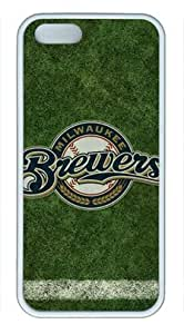 Milwaukee Brewers Iphone 5/5S White Sides Rubber Shell TPU Case by eeMuse