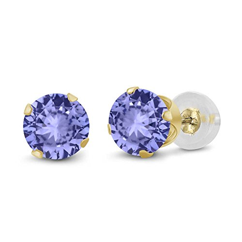 14K Yellow Gold Blue Tanzanite Stud Earrings Fine Jewelry For Women (0.92 cttw, Round 5MM) 14k Yellow Gold Tanzanite Stud Earrings