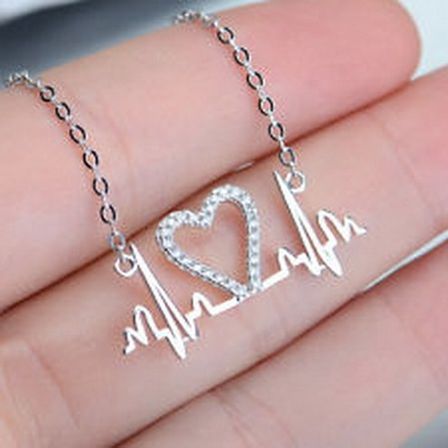 [jacob alex #40641 Lifeline Pulse Heartbeat with Heart Necklace Pendant In 925 Sterling Silver] (Play Doh Sexy Costumes)