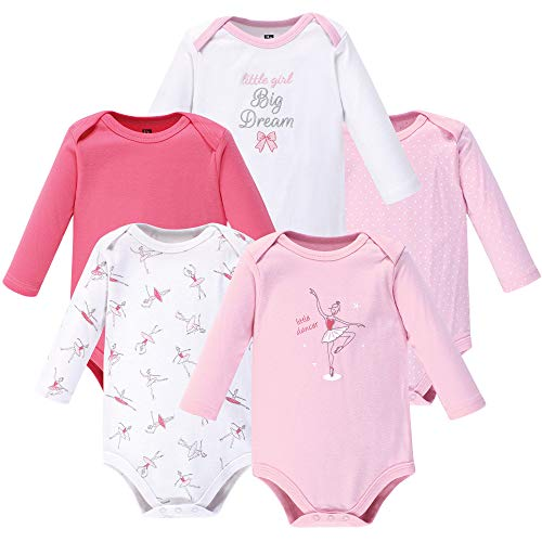 Hudson Baby Unisex Baby Long Sleeve Cotton Bodysuits, Little Dancer Long Sleeve 5 Pack, 18-24 Months (24M)