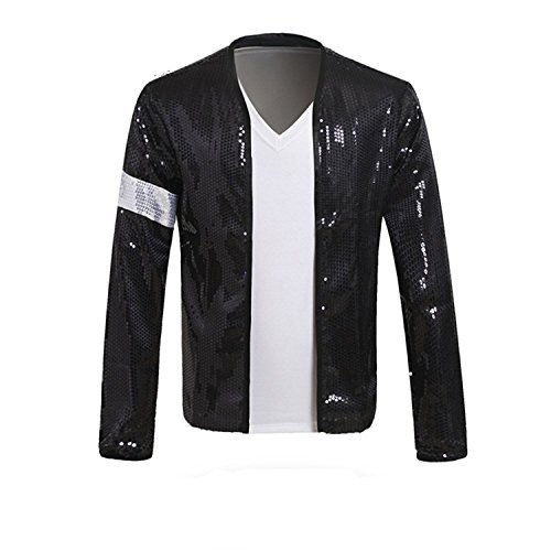 Xfang MJ Billie Jean Jacket Costume with Glove (130-Height:125cm-130cm) Black -