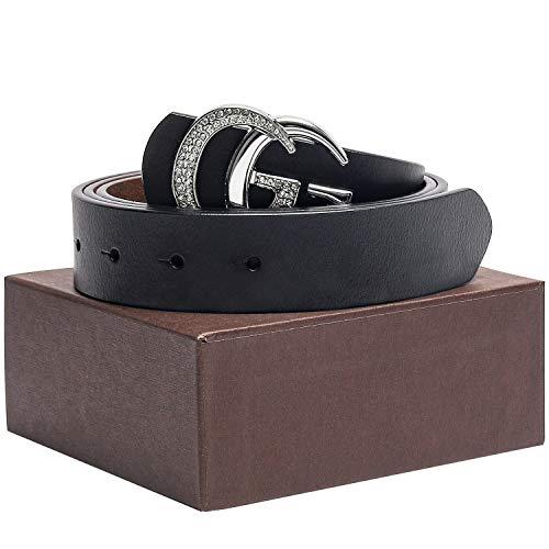 Style Rhinestone Belt - Women Gold/Silver G Style Belt Crystal Rhinestone Metal Buckle Genuine Leather for Pants Jeans Shorts Dresses ~ 3.3cm Belt Width
