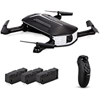 Goolsky H37 Mini Drone with 720P Camera Live Video Selfie Foldable G-sensor RC Quadcopter Altitude Hold Headless Mode Includes 3 batteries
