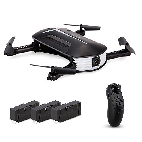 Goolsky H37 Mini Drone with 720P CameraLive Video Selfie Foldable G-sensor RC Quadcopter Altitude Hold Headless Mode Includes 3 batteries