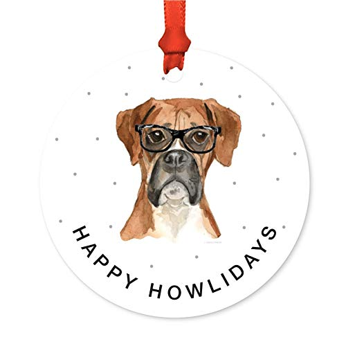 Andaz Press Preppy Dog Art Round Metal Christmas Ornament, Boxer in Black Glasses, 1-Pack, Birthday Present Ideas for Him Her Dog Lover, Includes Ribbon and Gift Bag ()