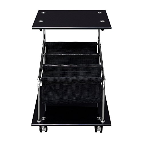 Rocket Castered Accent Storage Table with Black Glass Top and Base by Diamond Sofa- # ROCKETETBL With FREE Furniture Assembly Tools (Set Of Two) 10 Function Utility Knife & Wrench Tool