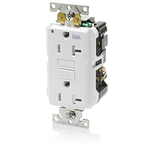 Leviton G5362-WTW 20A-125V Extra-Heavy Duty Industrial Grade Weather/Tamper-Resistant Duplex Self-Test GFCI Receptacle, White, ()