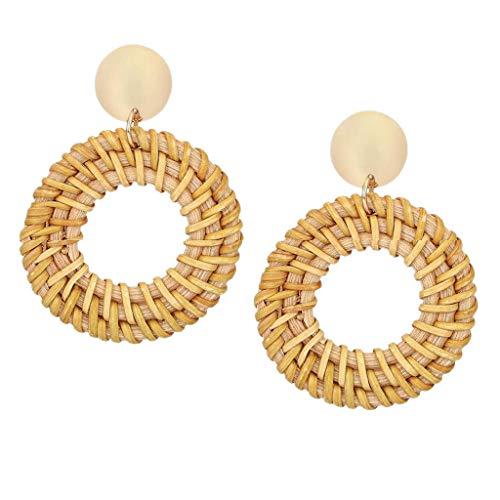 (Redvive Top Rattan Earrings for Women Handmade Straw Wicker Braid Drop Dangle Earrings)