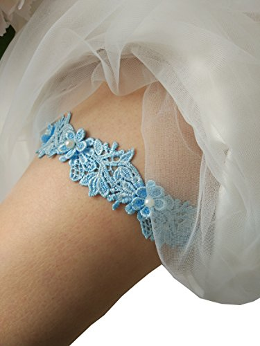 One piece lace bridal garter wedding garter legs garter belt for bridal and bridemaids P17 (Sky blue) Wedding Leg Garter