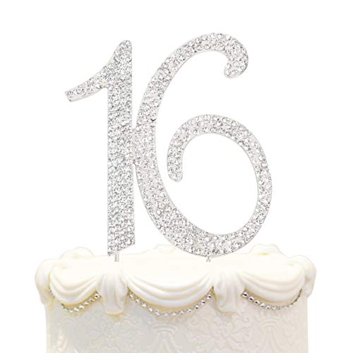 (Hatcher lee Bling Crystal 16 Birthday Cake Topper - Best Keepsake | 16th Party Decorations)